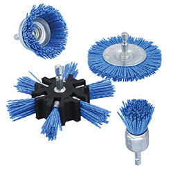 Impressive cleaning performance from these abrasive-grit impregnated nylon-filament cleaning brushes
