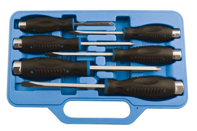 laser 5599 impact hammer head top 6 piece screwdriver set case slotted pozi. Black Bedroom Furniture Sets. Home Design Ideas