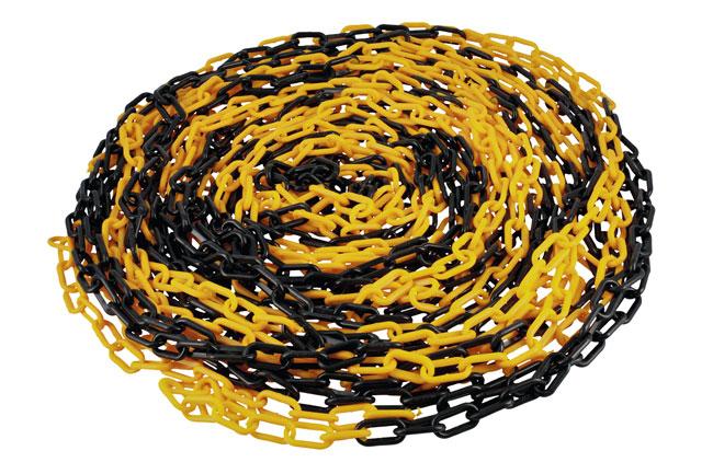 61238 Plastic 6mm Chain 25m (Black/Yellow)
