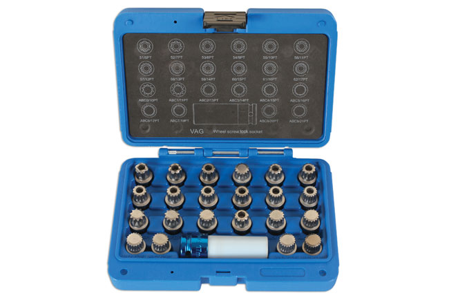 Locking Wheel Nut Key Set 23pc - for VAG