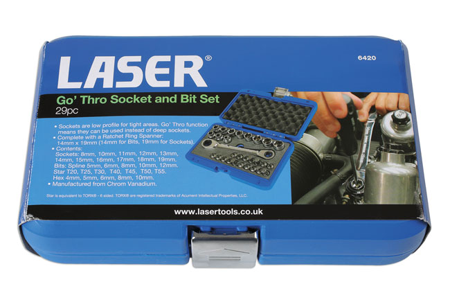 ~/items/xlarge/Packaging image of Laser Tools | 6420 | Go' Thru Socket and Bit Set 29pc