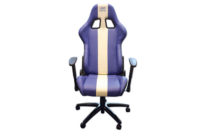 image of Laser Tools Racing Chair - Blue/White stripe