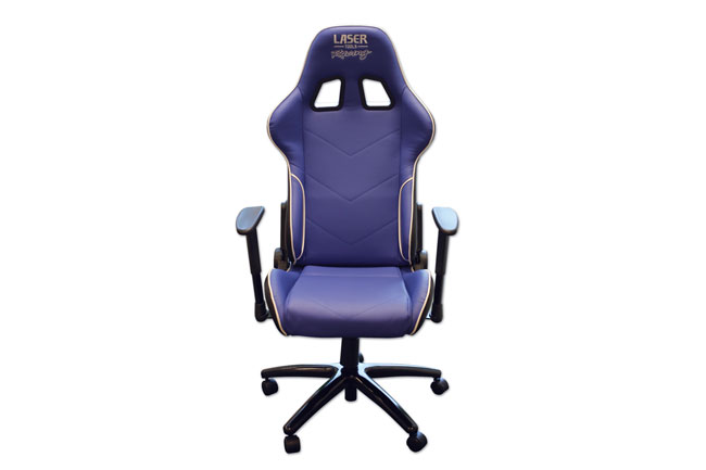 image of Laser Tools Racing Chair - Blue/White Piping