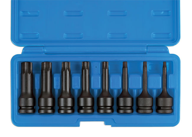 "~/items/xlarge/Overhead image of Laser Tools | 6749 | Spline Bit Set 1/2""D 8pc"