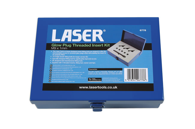 Laser Tools 6778 Glow Plug Threaded Insert Kit M9 x 1mm