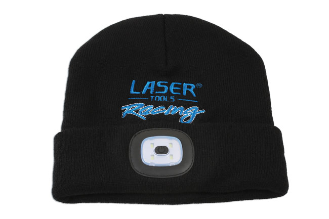 image of Laser Tools Racing Beanie Hat with Rechargeable Lamp
