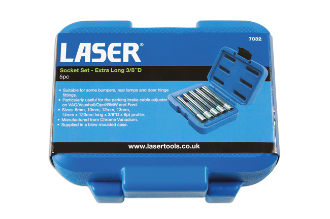 "~/items/xlarge/Packaging image of Laser Tools | 7032 | Socket Set - Extra Long 3/8""D 5pc"
