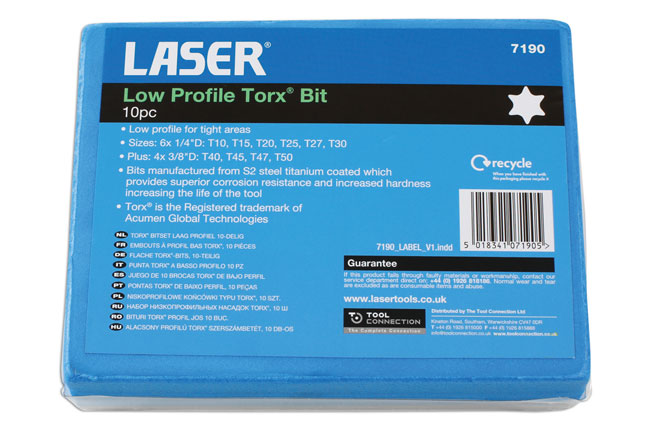 ~/items/xlarge/PackagingBack image of Laser Tools | 7190 | Low Profile Torx*  Bit 10pc