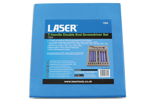 ~/items/xlarge/Packaging image of Laser Tools | 7284 | T Handle Double End Screwdriver Set 12pc