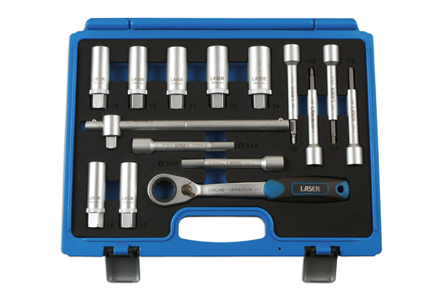 ~/items/xlarge/Overhead image of Laser Tools | 7360 | Shock Absorber & MacPherson Strut Tool Kit 15pc