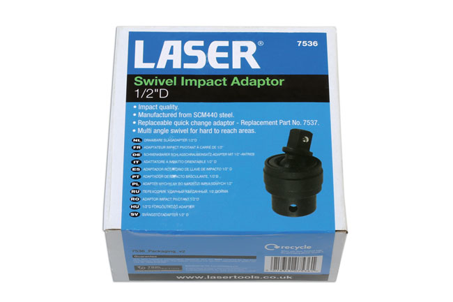 "~/items/xlarge/Packaging image of Laser Tools | 7536 | Swivel Impact Adaptor 1/2""D"