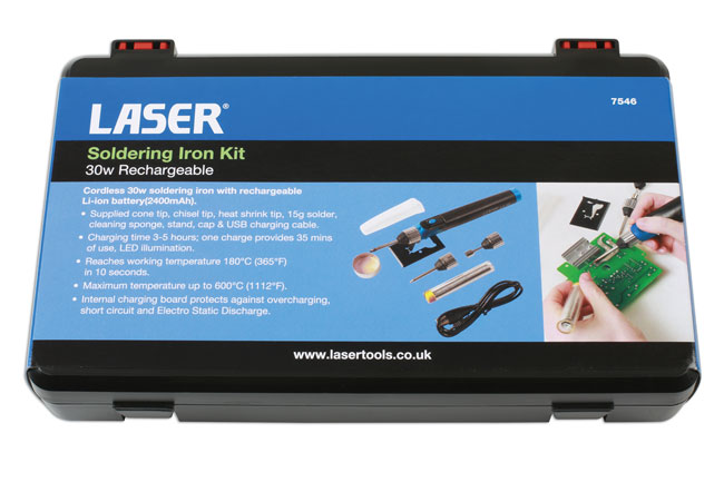 ~/items/xlarge/Packaging image of Laser Tools | 7546 | Soldering Iron Kit 30w - Rechargeable