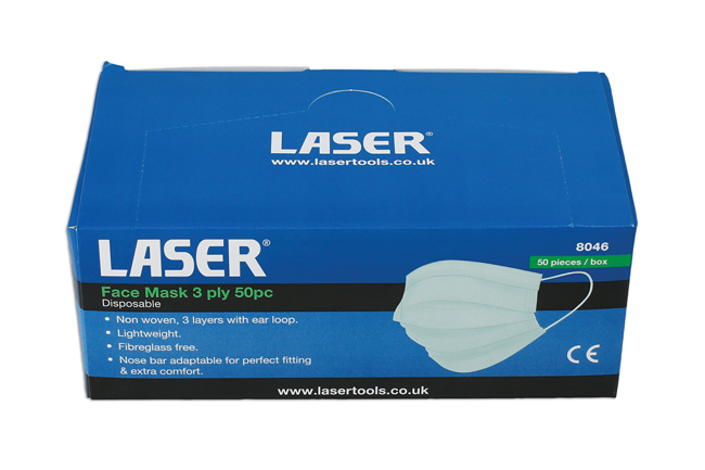 Laser Tools 8046 Face Mask 3 Ply 50pc
