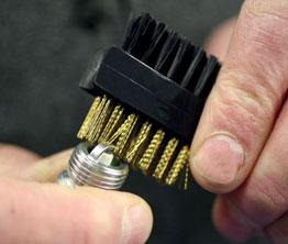 Wire Brush - Brass / Nylon in use
