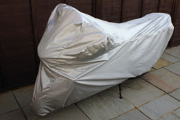 Water Resistant Motorcycle Cover Medium in use