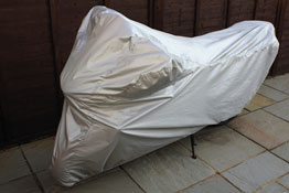 Water Resistant Motorcycle Cover Large in use