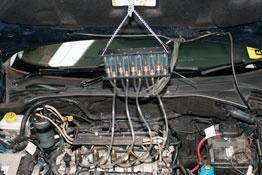 Diesel Injector Fuel Return Flow Tester in use