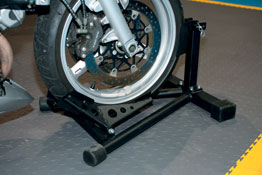 Motorcycle Stand/Wheel Chock in use