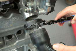 Turbo Boost Hose Clip Pliers in use