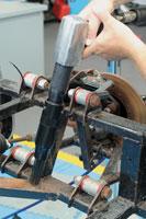 Needle Descaler Attachment in use