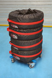 Professional Foldable Tyre/Wheel Trolley in use
