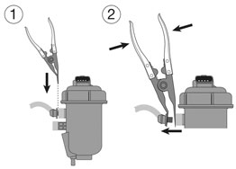 Fuel Line Pliers for Diesel Filter in use