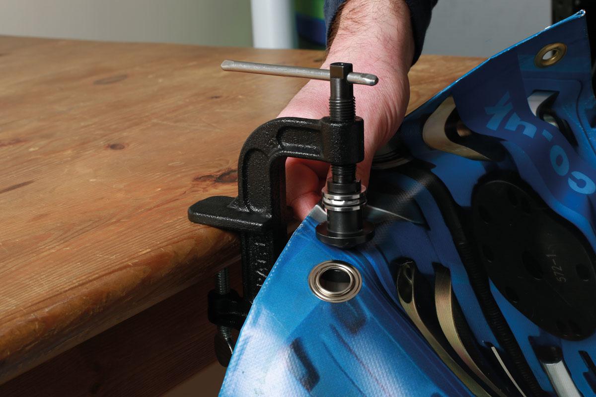Professional 12mm 16mm Tarpaulin Grommet Fitting Kit HGV Trailers Tarpaulin Tool
